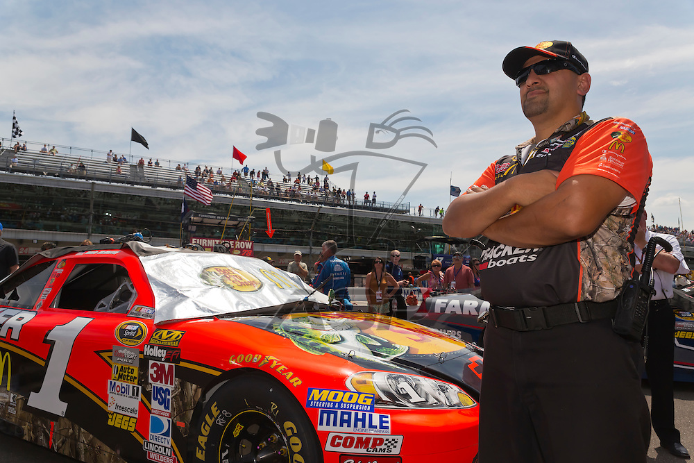 INDIANPOLIS, IN - JUL 29, 2012:  Jamie McMurray (1) races during the Curtiss Shaver 400 presented by Crown Royal at the Indianapolis Motor Speedway in Indianapolis, IN.