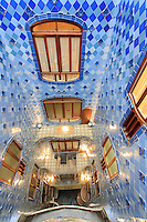 Casa Battlo in downtown Barcelona, Spain is one of Antonio Gaudi's most famous buildings. Here we see the internal courtyard in the centre of the building.