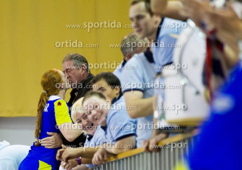 Lina Krhlikar with father after the handball match between Women National teams of Slovenia and Serbia in 2nd Round of Qualifications for 2014 EHF European Championship on October 27, 2013 in Hala Tivoli, Ljubljana, Slovenia. Slovenia defeated Serbia 31-26. (Photo by Vid Ponikvar / Sportida)