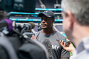 Tahir Whitehead (LB, Oakland Raiders) interviews at the NFL Academy, Stadium Showcase during the NFL Media Day held at Tottenham Hotspur Stadium, London, United Kingdom on 2 July 2019.