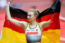 Lisa Ryzih of Germany celebrates afte placed second in the Pole Vault Women Final on day two of the 2017 European Athletics Indoor Championships at the Kombank Arena on March 4, 2017 in Belgrade, Serbia. Photo by Vid Ponikvar / Sportida