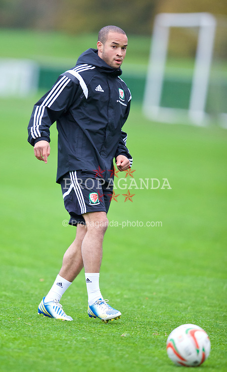 CARDIFF, WALES - Wednesday, November 13, 2013: Wales' Ashley 'Jazz' Richards during a training session at the Vale of Glamorgan ahead of the international friendly match against Finland. (Pic by David Rawcliffe/Propaganda)