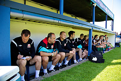 HAVERFORDWEST, WALES - Sunday, August 25, 2013: Wales' manager Jarmo Matikainen makes notes during the Group A match of the UEFA Women's Under-19 Championship Wales 2013 tournament at the Bridge Meadow Stadium. (Pic by David Rawcliffe/Propaganda)