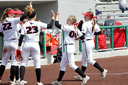 22 April 2017:  Annie Heineman gets congratulated by the team on a tough catch to end the inning during a Missouri Valley Conference (MVC) women's softball game between the Missouri State Bears and the Illinois State Redbirds on Marian Kneer Field in Normal IL