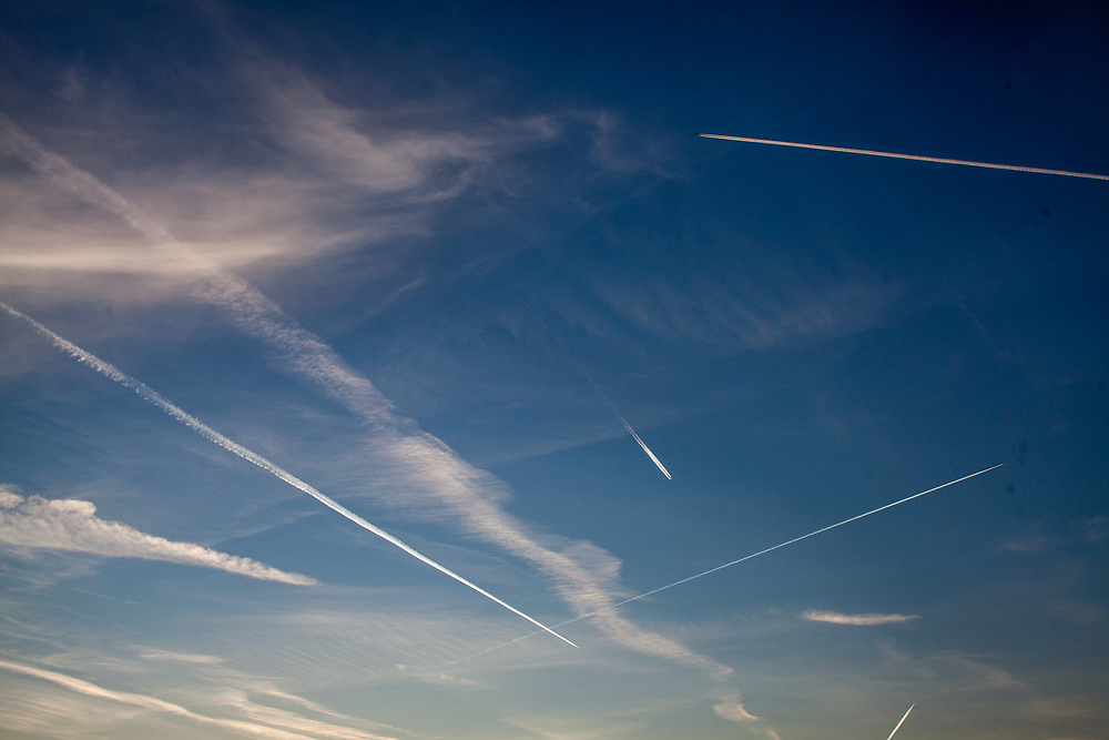 Planes flying over Oberursel-Stierstadt during the rise of the coronavirus crisis.