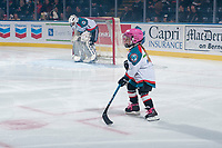 KELOWNA, CANADA - NOVEMBER 11: The Pepsi player of the game skates on the ice at the Kelowna Rockets against the Red Deer Rebels on November 11, 2017 at Prospera Place in Kelowna, British Columbia, Canada.  (Photo by Marissa Baecker/Shoot the Breeze)  *** Local Caption ***