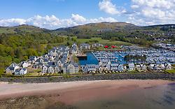 Aerial view of yacht marina and luxury housing development at Kip Marina at Inverkip, Inverclyde, Scotland, UK