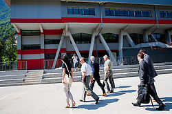 Tomaz Tom Mencinger, mayor of Jesenice, dr. Jernej Pikalo, Slovenian Minister of Education, Science, Culture and Sport and Darko Repensek at Media day during reconstruction of Arena Podmezakla for Eurobasket 2013,  on June 18, 2013 in Jesenice, Slovenia. (Photo By Vid Ponikvar / Sportida)