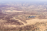 Aerial view of the Sahel in the dry season, Zakouma National Park, Chad