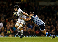 Ospreys' James King is tackled by Cardiff Blues' Kirby Myhill<br /> <br /> Photographer Simon King/Replay Images<br /> <br /> Guinness PRO14 Round 21 - Cardiff Blues v Ospreys - Saturday 28th April 2018 - Principality Stadium - Cardiff<br /> <br /> World Copyright &copy; Replay Images . All rights reserved. info@replayimages.co.uk - http://replayimages.co.uk