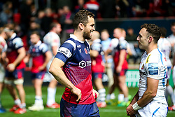 Luke Morahan of Bristol Bears chats to fellow Aussie Nic White after Exeter Chiefs are awarded a late penalty try to win the game - Rogan/JMP - 18/11/2018 - RUGBY UNION - Ashton Gate Stadium - Bristol, England - Bristol Bears v Exeter Chiefs - Gallagher Premiership Rugby.