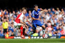 Pedro of Chelsea is challenged by Nacho Monreal of Arsenal - Mandatory byline: Rogan Thomson/JMP - 07966 386802 - 19/09/2015 - FOOTBALL - Stamford Bridge Stadium - London, England - Chelsea v Arsenal - Barclays Premier League.