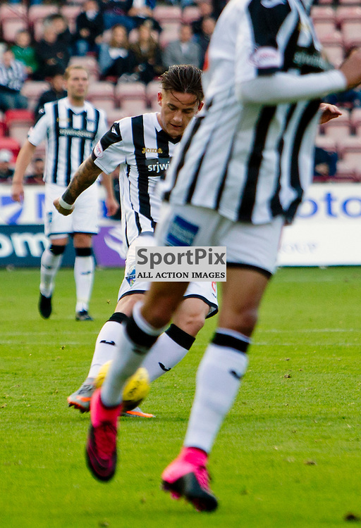 Dunfermline Athletic v Albion Rovers SPFL League One Season 2015/16 East End Park 03 October  2015<br /> Rhys McCabes long range effort is spilled into the net by keeper Ross Stewart<br /> CRAIG BROWN | sportPix.org.uk