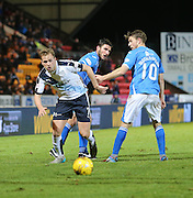 Dundee&rsquo;s Greg Stewart wriggles past St Johnstone&rsquo;s John Sutton and David Wotherspoon - St Johnstone v Dundee, Ladbrokes Scottish Premiership at McDiarmid Park<br /> <br />  - &copy; David Young - www.davidyoungphoto.co.uk - email: davidyoungphoto@gmail.com