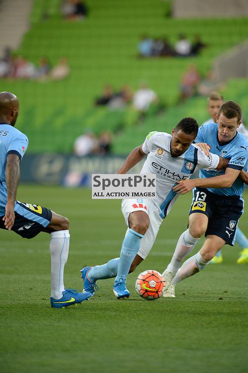 Harry Novillo of Melbourne City, Brandon O'Neill of Sydney FC - Hyundai A-League, January 2nd 2016, RD13 match between Melbourne City FC V Sydney FC at Aami Park, Melbourne, Australia in a 2:2 draw. © Mark Avellino | SportPix.org.uk