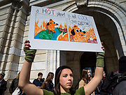 "15 MARCH 2019 - ST. PAUL, MINNESOTA, USA: A high school student from Orono, MN, during the MN Youth for Climate Justice ""Climate Strike"" at the Minnesota State Capitol in St. Paul, MN. Thousands of high school students braved below freezing temperatures and biting winds to demand action on climate change. The Minnesota Climate Strike was inspired by the strike by Greta Thunberg, a Swedish high school student, who started a climate strike at her school in August 2018.        PHOTO BY JACK KURTZ"