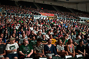 AUGUST 26, 2018  ATHENS, OHIO:<br /> New freshman students watch videos on the giant TV screens above their heads in the Convocation Center during the freshman convocation at Ohio University on August 26, 2018 in Athens, Ohio.