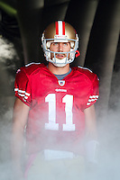 30 October 2011: Quarterback (11) Alex Smith of the San Francisco 49ers stands in the bubble helmet during player introductions before the 49ers 20-10 victory against the Cleveland Browns in an NFL football game at Candlestick Park in San Francisco, CA.