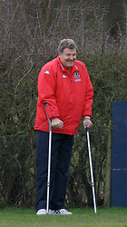 CHESTER, ENGLAND - Monday, February 4, 2008: Wales' manager John Toshack, on crutches after an ankle operation, during training at the Carden Park Hotel ahead of their friendly match against Norway. (Photo by David Rawcliffe/Propaganda)