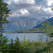A HDR image of Kluane Lake, the Kluane Mountains, and the Alaska Highway.