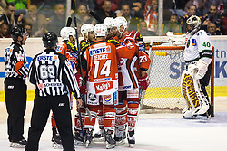 Players of EC KAC celebrate after scoring a goal during ice-hockey match between EC KAC and HDD Telemach Olimpija in 1st Round of EBEL League in Season 2014 / 15 on September 12, 2014 in Sporthalle KAC, Klagenfurt, Slovenia. Photo by Matic Klansek Velej / Sportida