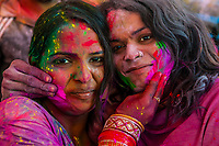 Women smearing colored powders on each other's faces, Lathmar Holi, Holi The Festival of Colors, Barsana, near Mathura, Uttar Pradesh, India.