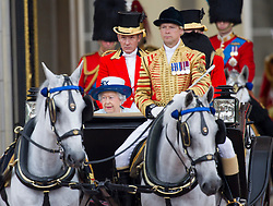 LONDON- UK - 14-JUNE-2014: The annual Trooping the Colour Ceremony for Queen Elizabeth;s Birthday is held in London. Members of the royal family travel by carriage from Buckingham Palace to Horseguards Parade for the Trooping Ceremony.<br /> Photograph by Ian Jones