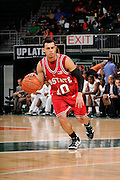 February 27, 2010: Javier Gonzalez of the North Carolina State Wolfpack in action during the NCAA basketball game between the Miami Hurricanes and the North Carolina State Wolfpack. The Wolfpack defeated the 'Canes 71-66.