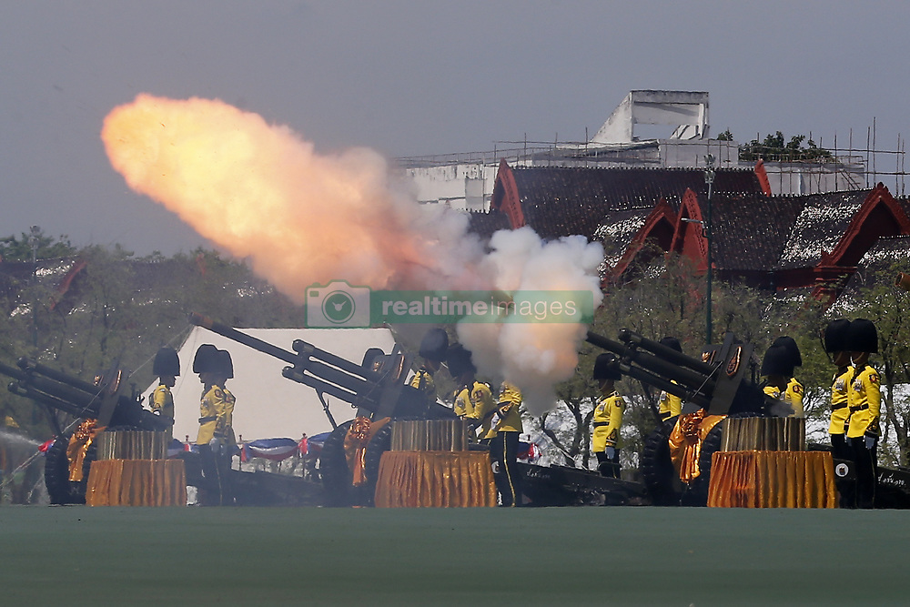 May 4, 2019 - Bangkok, Thailand - Royal Guards fire a series of canon salutes during the coronation of Thailand's King Maha Vajiralongkorn Bodindradebayavarangkun (Rama X) in Bangkok. (Credit Image: © Chaiwat Subprasom/SOPA Images via ZUMA Wire)