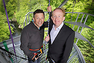 09.05.11. Visit Scotland chairman, Dr Mike Cantlay (right) visits Highalnd Fling Bungee installation at Killiecrankie. He is seen here with John Mason-Strang, director of Highland Fling Bungee on the jump platform which suspends 40 metres above the river Garry.