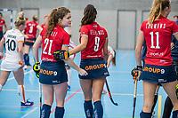 ROTTERDAM -  Roos Drost (l) van Hurley. dames Hurley-Oranje Rood, Hurley plaatst zich voor halve finales NK  ,hoofdklasse competitie  zaalhockey.   COPYRIGHT  KOEN SUYK
