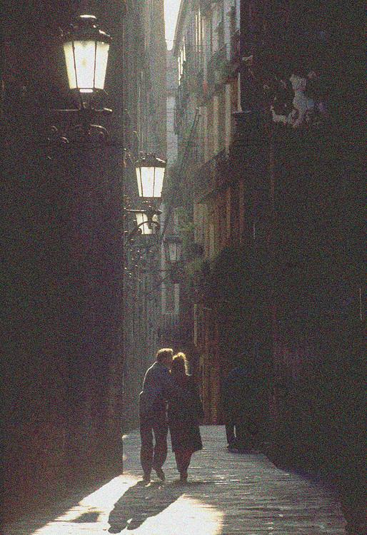 Couple Walking Together, Barcelona, Spain