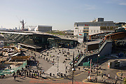 Aerial landscape of Westfield City shopping centre and Stratford rail station hub, home of the 2012 Olympics.
