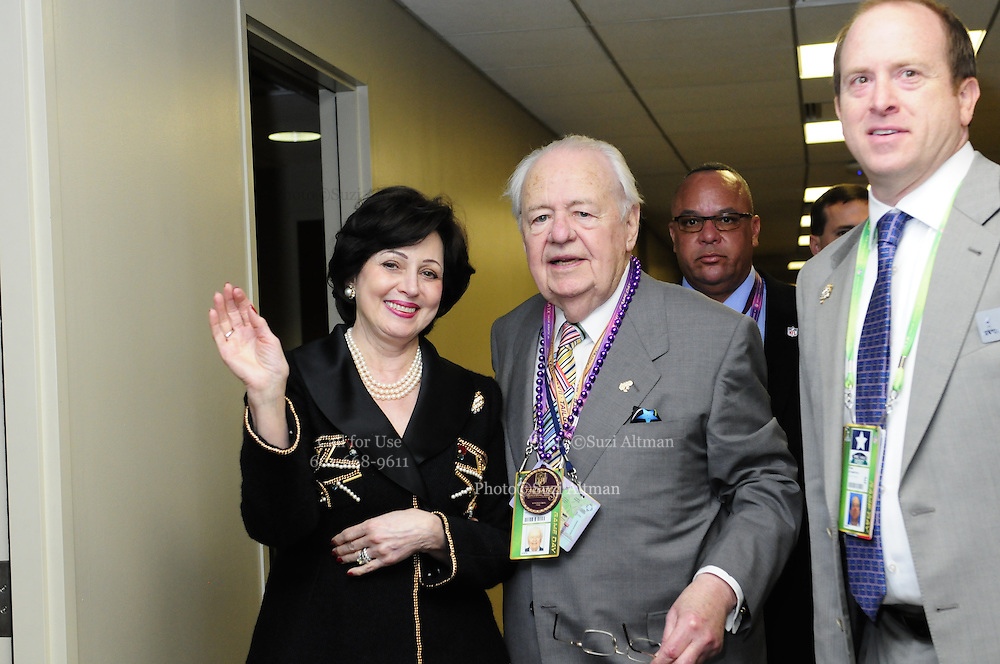 Tom Benson the owner of the New Orleans Saints and his wife Gayle are seen on the way to their private box suite at the Mercedes Benz Super Dome for Super Bowl XLV11. The Ravens beat the SF 49ers 34-31. Photo©Suzi Altman