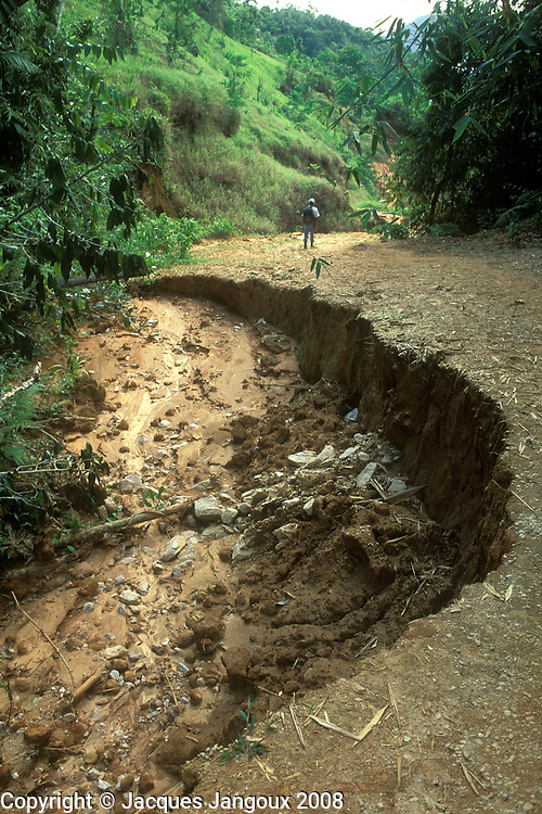 Erosion caused by rain on dirt road, Serra do Mar, Rio de Janeiro State, Brazil.