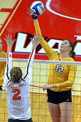 23 November 2017:  Jaelyn Keene defends the attack of Taylor Graboski during a college women's volleyball match between the Valparaiso Crusaders and the Illinois State Redbirds in the Missouri Valley Conference Tournament at Redbird Arena in Normal IL (Photo by Alan Look)