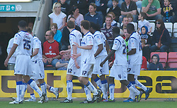 BOURNEMOUTH, ENGLAND - Saturday, April 9, 2011: Tranmere Rovers' players surround team mate Ian Goodson after his goal makes it 1-0 against Bournemouth during the Football League One match at the Dean Court Stadium. (Photo by Gareth Davies/Propaganda)