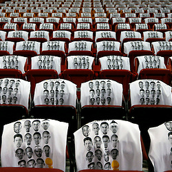 Jun 20, 2013; Miami, FL, USA;  T-shirts line the seats prior to the start of game seven in the 2013 NBA Finals between the San Antonio Spurs and the Miami Heat at American Airlines Arena. Mandatory Credit: Derick E. Hingle-USA TODAY Sports