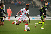 Mk Dons Ike Ugbo (27) strides forward during the EFL Sky Bet League 1 match between Milton Keynes Dons and Bristol Rovers at stadium:mk, Milton Keynes, England on 3 March 2018. Picture by Nigel Cole.