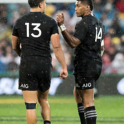 Anton Lienert-Brown  Waisake Naholo during game 9 of the British and Irish Lions 2017 Tour of New Zealand, the second Test match between  The All Blacks and British and Irish Lions, Westpac Stadium, Wellington, Saturday 1st July 2017<br /> (Photo by Kevin Booth Steve Haag Sports)<br /> <br /> Images for social media must have consent from Steve Haag