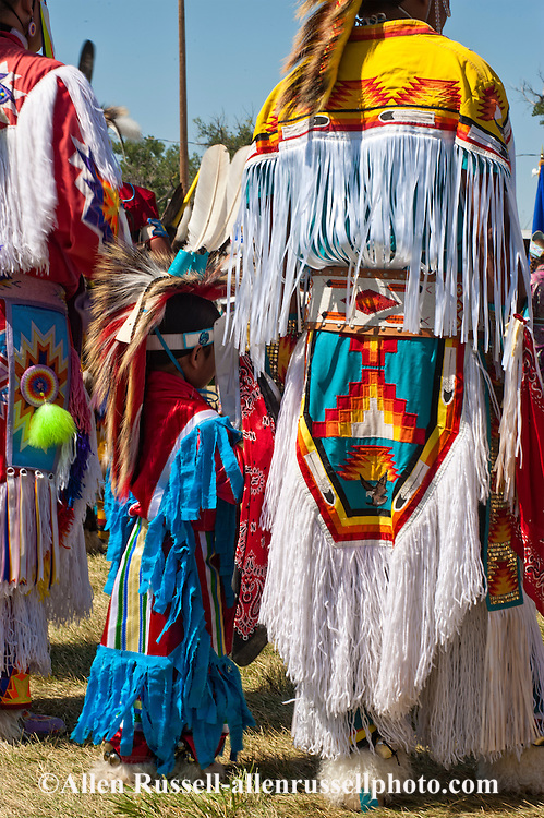 Grass dancers, father, son, Crow Fair powwow, Montana
