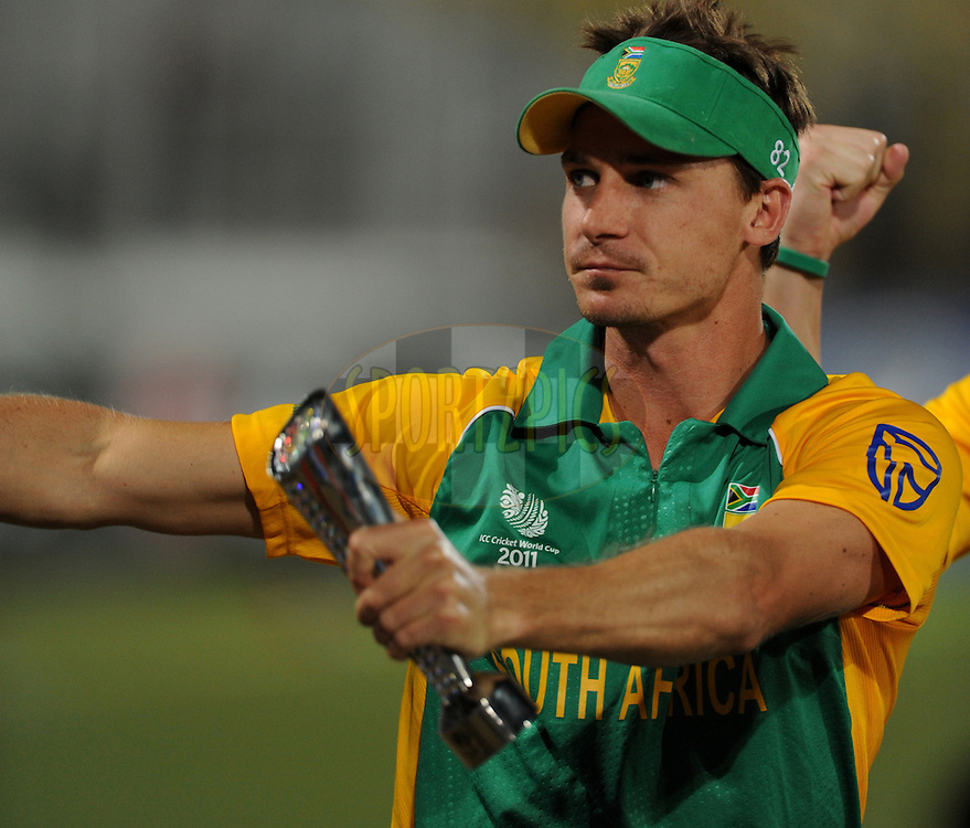 Dale Steyn of South Africa posses with the man of the match trophy during the ICC Cricket World Cup match between India and South Africa held at the Vidarbha Cricket Stadium in Nagpur on the 12 March 2011..Photo by Pal Pillai/BCCI/SPORTZPICS