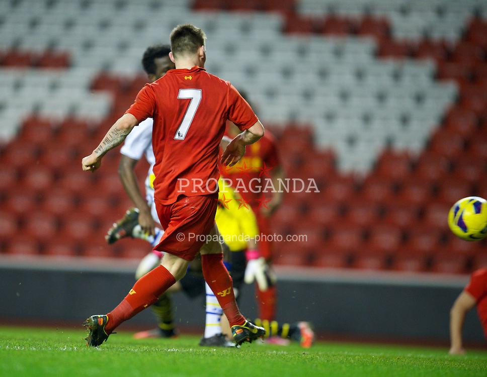 LIVERPOOL, ENGLAND - Thursday, February 28, 2013: Liverpool's Jack Dunn scores the third goal against Leeds United during the FA Youth Cup 5th Round match at Anfield. (Pic by David Rawcliffe/Propaganda)