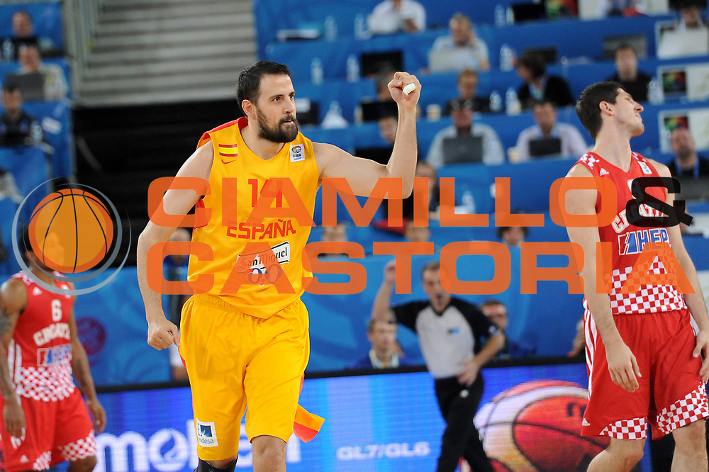 DESCRIZIONE : Lubiana Ljubliana Slovenia Eurobasket Men 2013 Finale Terzo Quarto Posto Spagna Croazia Final for 3rd to 4th place Spain Croatia<br /> GIOCATORE : German Gabriel<br /> CATEGORIA : esultanza jubilation<br /> SQUADRA : Spagna Spain<br /> EVENTO : Eurobasket Men 2013<br /> GARA : Spagna Croazia Spain Croatia<br /> DATA : 22/09/2013 <br /> SPORT : Pallacanestro <br /> AUTORE : Agenzia Ciamillo-Castoria/C.De Massis<br /> Galleria : Eurobasket Men 2013<br /> Fotonotizia : Lubiana Ljubliana Slovenia Eurobasket Men 2013 Finale Terzo Quarto Posto Spagna Croazia Final for 3rd to 4th place Spain Croatia<br /> Predefinita :
