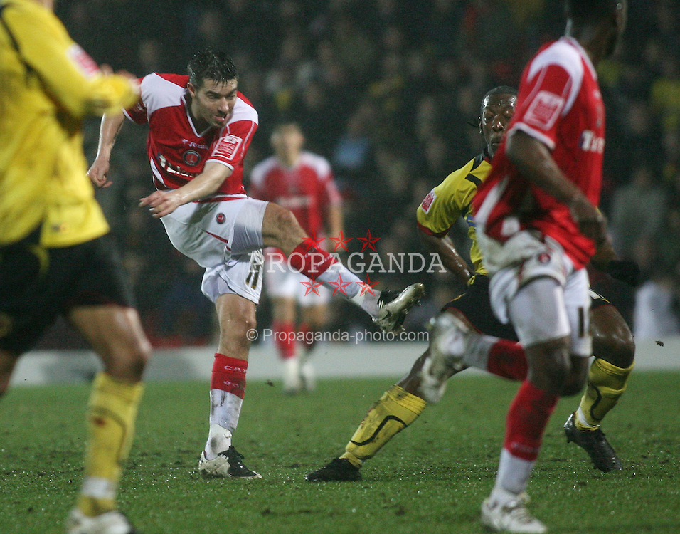 WATFORD, ENGLAND - Saturday, January 19, 2008: Charlton Athletic's Darren ambrose scores the equalising goal against Watford during the League Championship match at Vicarage Road. (Photo by Chris Ratcliffe/Propaganda)