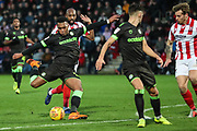 Forest Green Rovers Tahvon Campbell(14) shoots at goal during the EFL Sky Bet League 2 match between Cheltenham Town and Forest Green Rovers at Jonny Rocks Stadium, Cheltenham, England on 29 December 2018.
