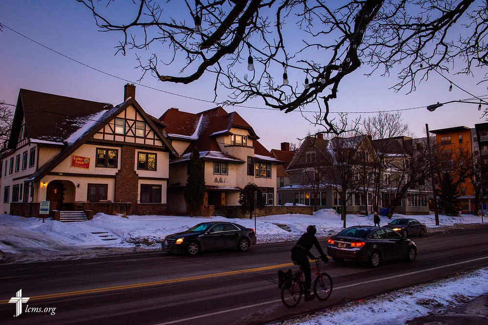 A bicyclist pedals past Luther House (far left) on Wednesday, Feb. 21, 2018, next the University of Minnesota, Twin Cities, in Minneapolis. LCMS Communications/Erik M. Lunsford