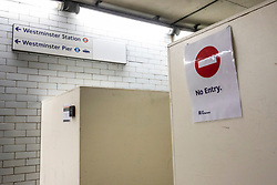 © Licensed to London News Pictures. 29/07/2019. London, UK. A newly-built security gate at the entrance to Parliament from Westminster Underground Station. The gate is believed to be a deterrent against homeless sleepers who use the passage for shelter. Photo credit: Rob Pinney/LNP