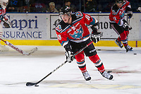 KELOWNA, CANADA - DECEMBER 8:  Cody Fowlie #18 of the Kelowna Rockets skates with the puck during warm up opposite the Prince George Cougars at the Kelowna Rockets on December 8, 2012 at Prospera Place in Kelowna, British Columbia, Canada (Photo by Marissa Baecker/Shoot the Breeze) *** Local Caption ***