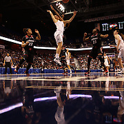 Kia Nurse, (left), UConn, is challenged by Marley Hill, Cincinnati, during the UConn Vs Cincinnati Quarterfinal Basketball game at the American Women's College Basketball Championships 2015 at Mohegan Sun Arena, Uncasville, Connecticut, USA. 7th March 2015. Photo Tim Clayton